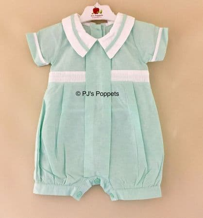 BABY BOYS TRADITIONAL MINT WHITE SMOCKED ROMPER 6 12 18 24