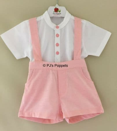 Baby Boys Traditional Style Shirt Shorts Set Light Coral Pink