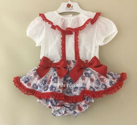 BABY GIRLS JAM PANT SET RED NAVY FLORAL BOW SWISS DOT LACE TOP