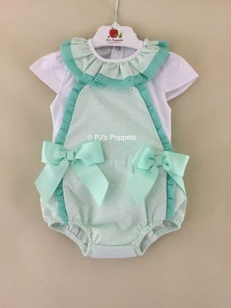 BABY GIRLS PORTUGUESE LACE BOW WAFFLE DUNGAREE ROMPER SET GREEN SMALL FITTING