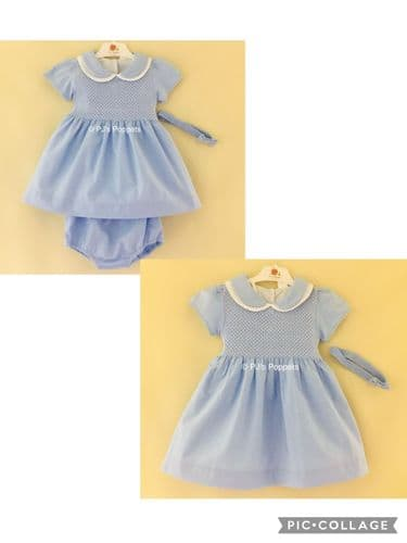 BABY GIRLS TRADITIONAL SMOCKED DRESS BLUE