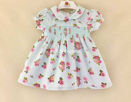 BABY GIRLS TRADITIONAL SMOCKED DRESS MINT BLUE FLORAL