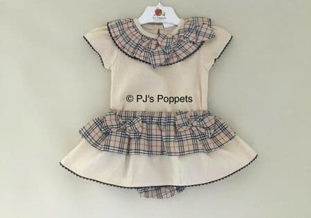 BABY GIRLS TRADITIONAL  STYLE FRILLY JAM PANTS SET CAMEL CHECK