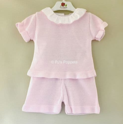 Girls Portuguese Pink Knitted Jumper Shorts Set 1-2 2-3 3-4 Years