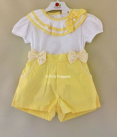 GIRLS YELLOW WHITE TOP SHIRT SHORTS SET