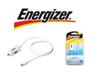 iPhone 5 & 5S Energizer 2.1 Amp Lightning Cable Car Charger | White