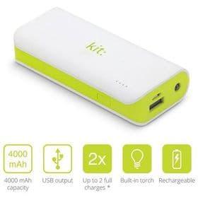 Kit 4000mAh Power Bank with Flashlight | White