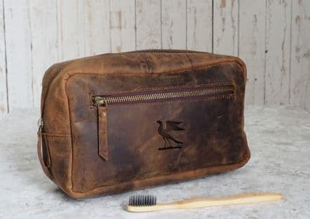 Paper High Leather Wash Bag
