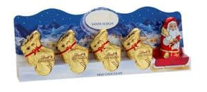 Lindt Milk Chocolate Mini Santa and Sleigh 5 Pack 50g
