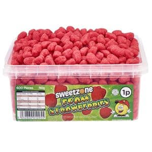 Sweetzone Foam Starwberries Tub Of 600 (HALAL)