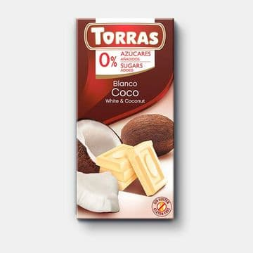 Torras No Added Sugar White Chocolate Bar With Coconut 75g