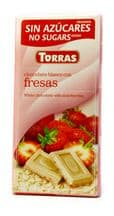 Torras No Added Sugar White Chocolate Bar With Strawberries 75g