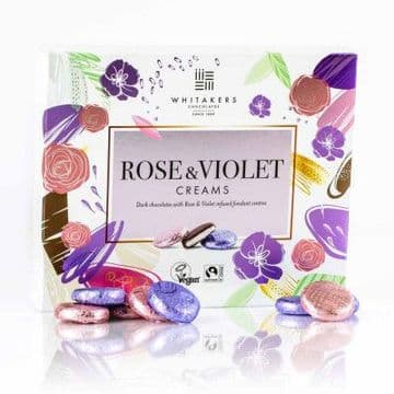 Whitakers Plain Chocolate Rose & Violet Cremes 200g
