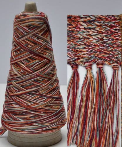 100g cone Red-Peach-Cream Chunky Multi-coloured Chunky Cotton-Linen yarn multiple untwisted ply's