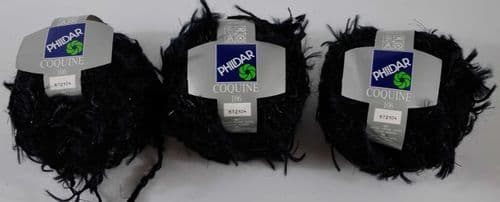 3 X 50g Phildar Coquine Black fancy Chunky mohair wool and viscose