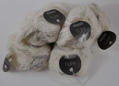 6 X 50g Filatura di Crosa white silver and pink fancy textured double knit mohair