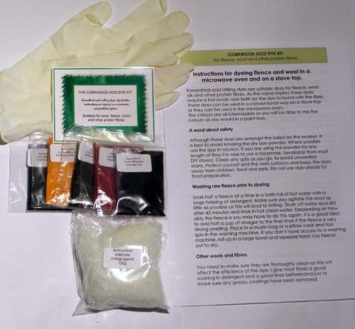 Acid dye kit for dyeing wool and fleece five colours and fixative