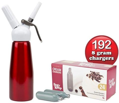 192 Tasty Whip chargers & 1/2 litre Tall cream dispenser.  Choice of 5 Colours.