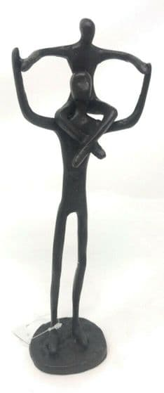 CastIron Parent and Child on Shoulders Sculpture Figure Father and Son Gift Idea