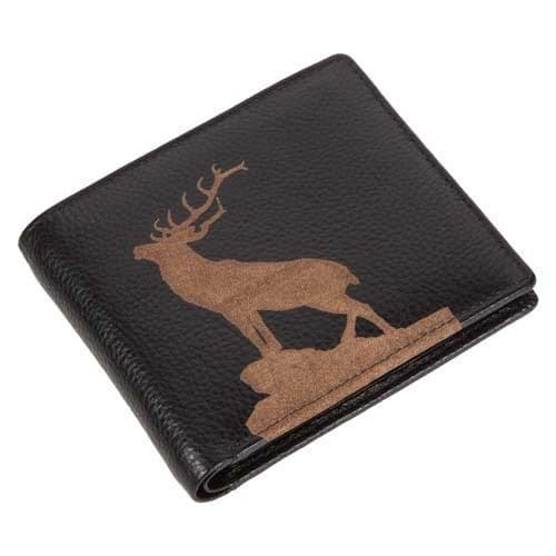 Engraved Leather Mens Wallet Stag Image Luxury Quality Leather with Coin Pocket
