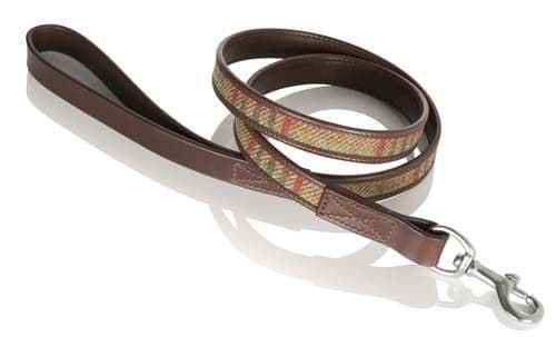 Islay Tweed and Luxury Leather Green Dog Lead in Medium, Great Gift Idea Pets