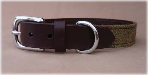 Islay Tweed and Luxury Leather Green Dog Puppy Collar in Small,Gift Idea Pets