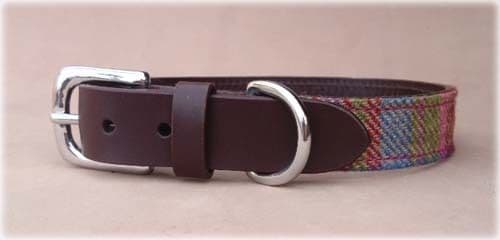 Islay Tweed and Luxury Leather Pink Dog Collar in XL Extra Large, Gift Idea Pets