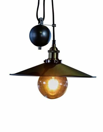 Pendant Light Industrial Loft Style Charcoal,Copper or Chrome Adjustable Rise &