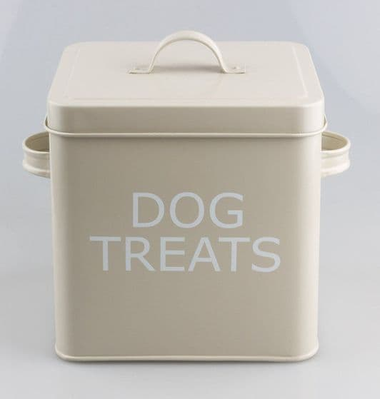 VINTAGE STYLE DOG TREAT TIN STORAGE BOX IN OLIVE FOR DRY FOOD,TREATS ETC