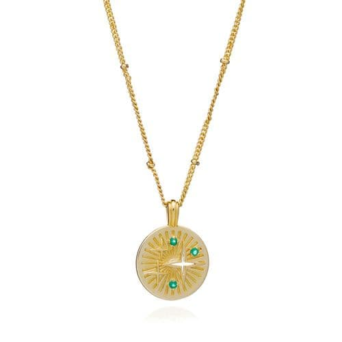 Astral Pendant Necklace:  Gold and Green Onyx