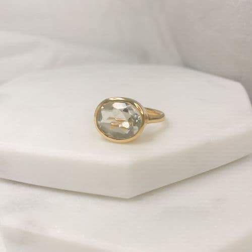 Clara Ring: Gold and Crystal Clear
