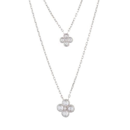 Clover Double Layered Pendant Necklace: Silver