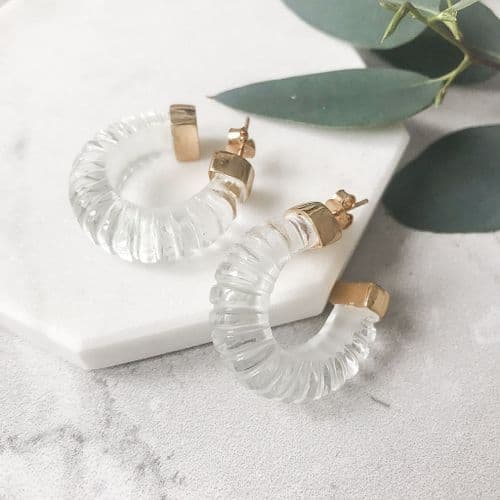 Esme Earrings: Gold and Crystal Clear