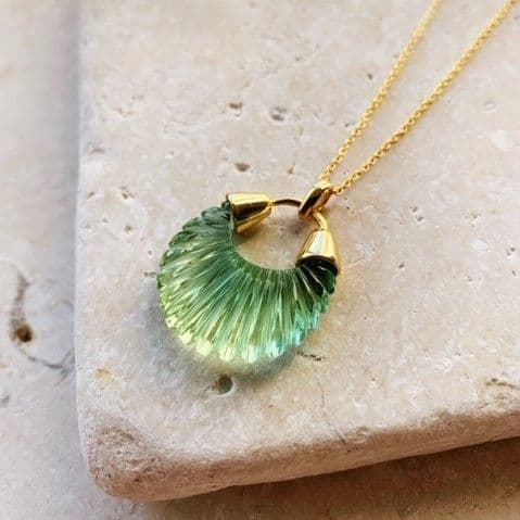Ettienne Pendant Necklace: Gold and Green