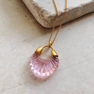 Ettienne Pendant Necklace: Gold and Pink