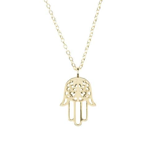 Hamsa Pendant Necklace: Gold