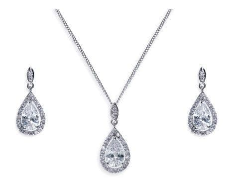 Ivory & Co. Belmont Crystal Teardrop Earring and Pendant Set