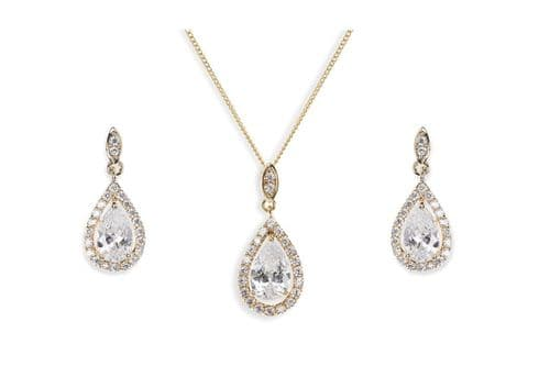 Ivory & Co. Gold Belmont Crystal Teardrop Earring and Pendant Set