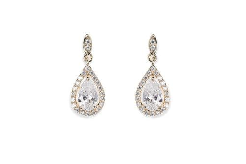 Ivory & Co. Gold Belmont Crystal Teardrop Earrings