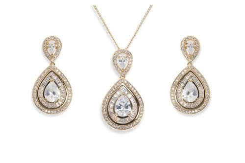 Ivory & Co. Gold Montgomery Crystal Teardrop Earrings and Pendant Set