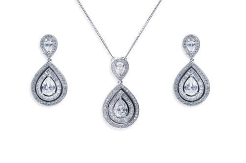 Ivory & Co. Montgomery Crystal Teardrop Earrings and Pendant Set