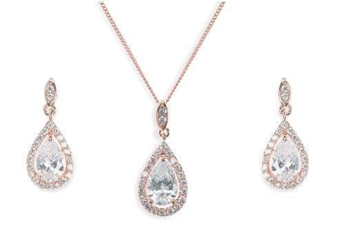Ivory & Co. Rose Gold Belmont Crystal Teardrop Earring and Pendant Set