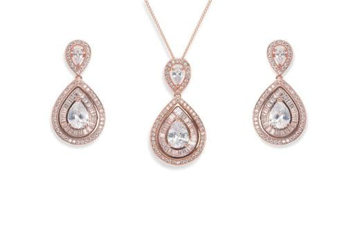 Ivory & Co. Rose Gold Montgomery Crystal Teardrop Earrings and Pendant Set