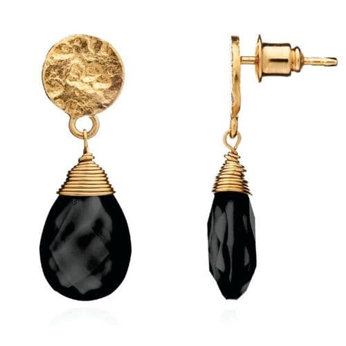 Kate Earrings: Gold and Black Onyx