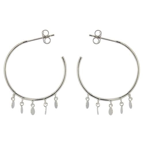 Loved & Luxe Silver Disc Charm Hoop Earrings