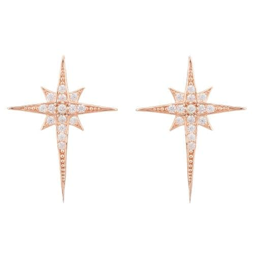 North Star Stud Earrings: Rose Gold