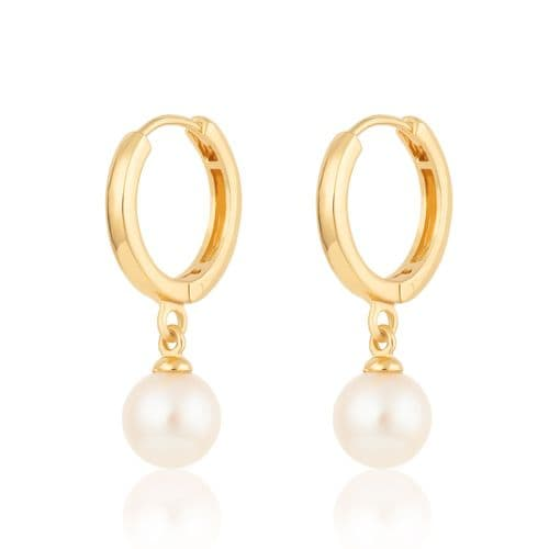 Pearl Huggie Earrings: Gold