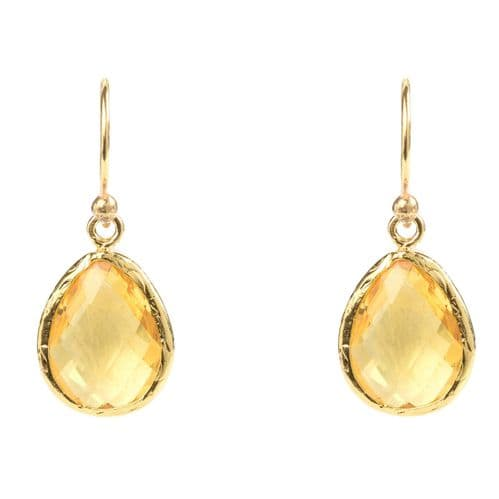 Petite Drop Earrings: Gold and Citrine Hydro