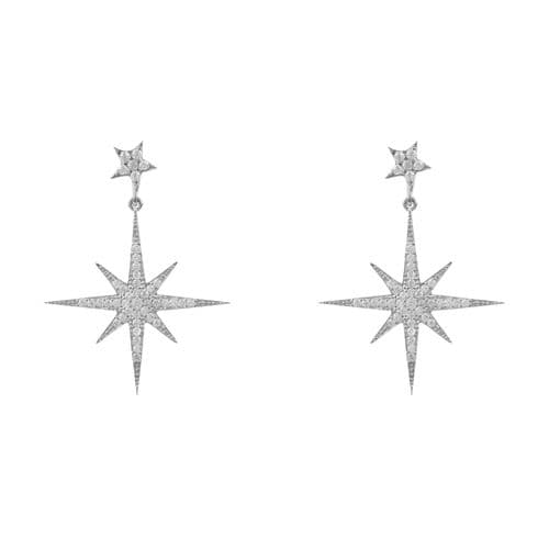 Petite Starburst Earrings: Silver