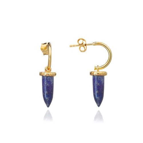 Pueblo Earrings: Gold and Lapis